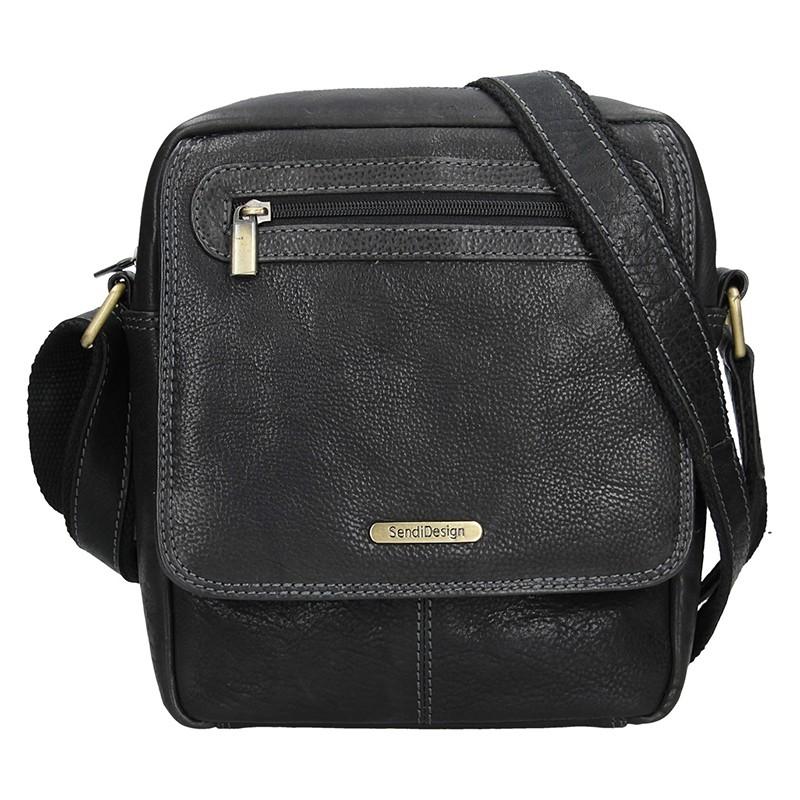 Pánská kožená taška přes rameno Lagen Armareto - tmavě hnědá