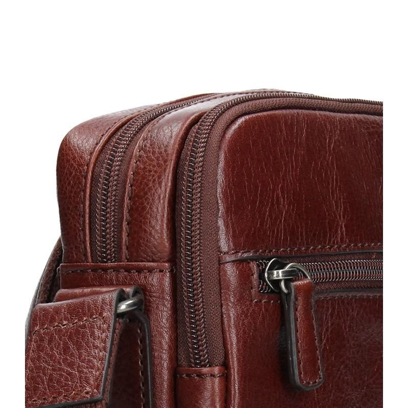 Pánská kožená taška přes rameno Hexagona Alfons - koňak