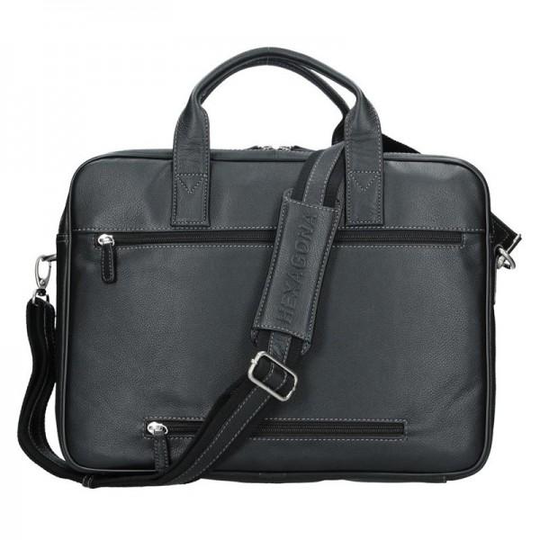 Pánská kožená taška přes rameno Hexagona 463086 - černá