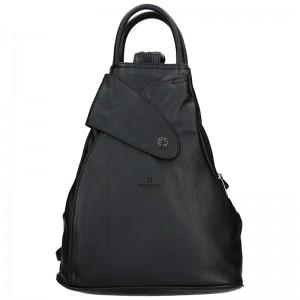 Dámský kožený batoh Hexagona 414775 - černá