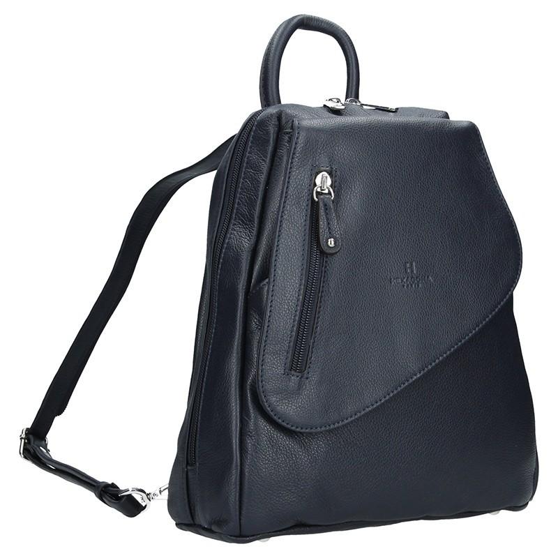 Dámský kožený batoh Hexagona 414775 - hnědá