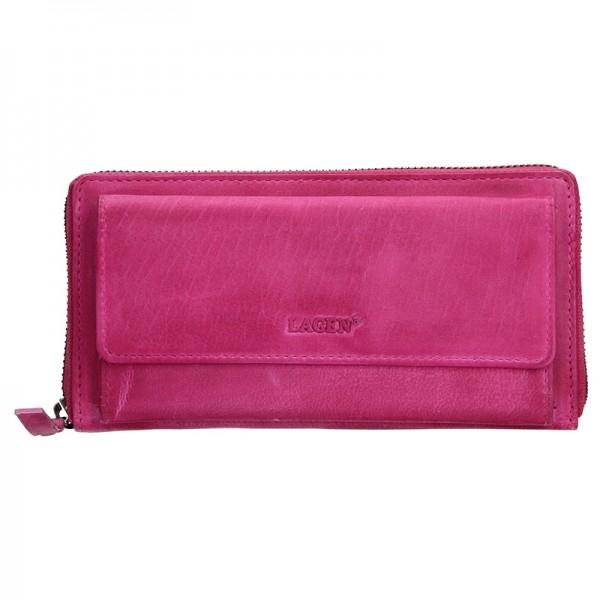 Dámská kožená peněženka Lagen Maria - růžová