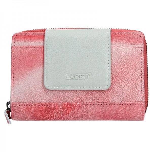 Dámská kožená peněženka Lagen Agáta - růžovo-stříbrná