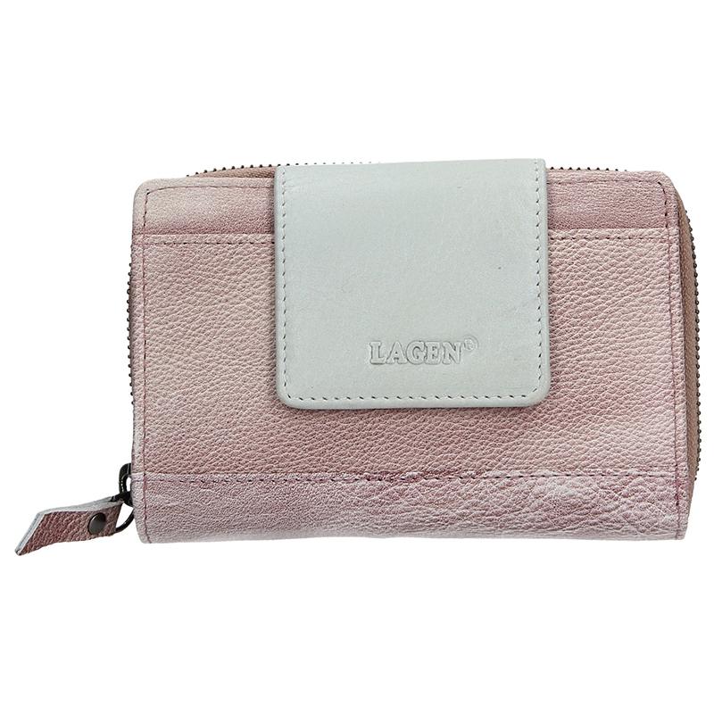 Dámská kožená peněženka Lagen Agáta - fialovo-stříbrná 08a64250943