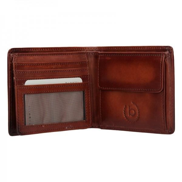 Pánská kožená peněženka Bugatti RFID1 - koňak
