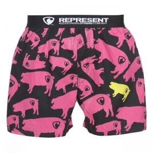Pánské Boxerky Represent Exclusive piggy - černo-růžová
