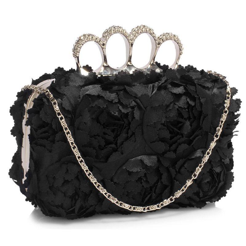 Dámské psaníčko LS Fashion Flower- černá
