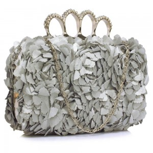 Dámské psaníčko LS Fashion Flower- stříbrná