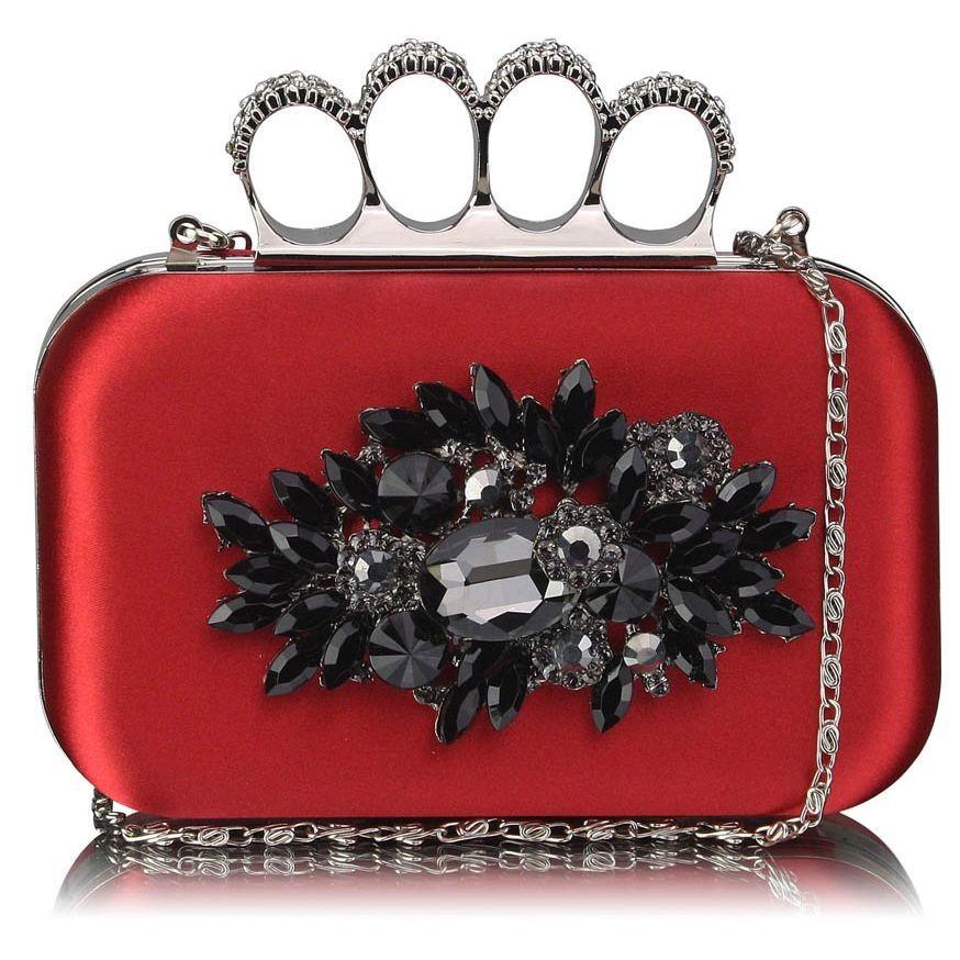 Dámské psaníčko LS Fashion Crystal- červená
