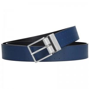 Hnědý kožený pánský opasek Calvin Klein Vitel - modrá