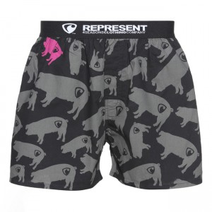 Pánské Boxerky Represent Exclusive piggy - černo-šedá