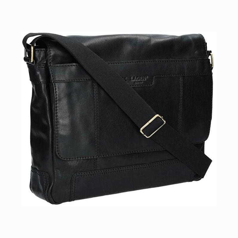 Pánská kožená taška přes rameno Lagen Alan - černá