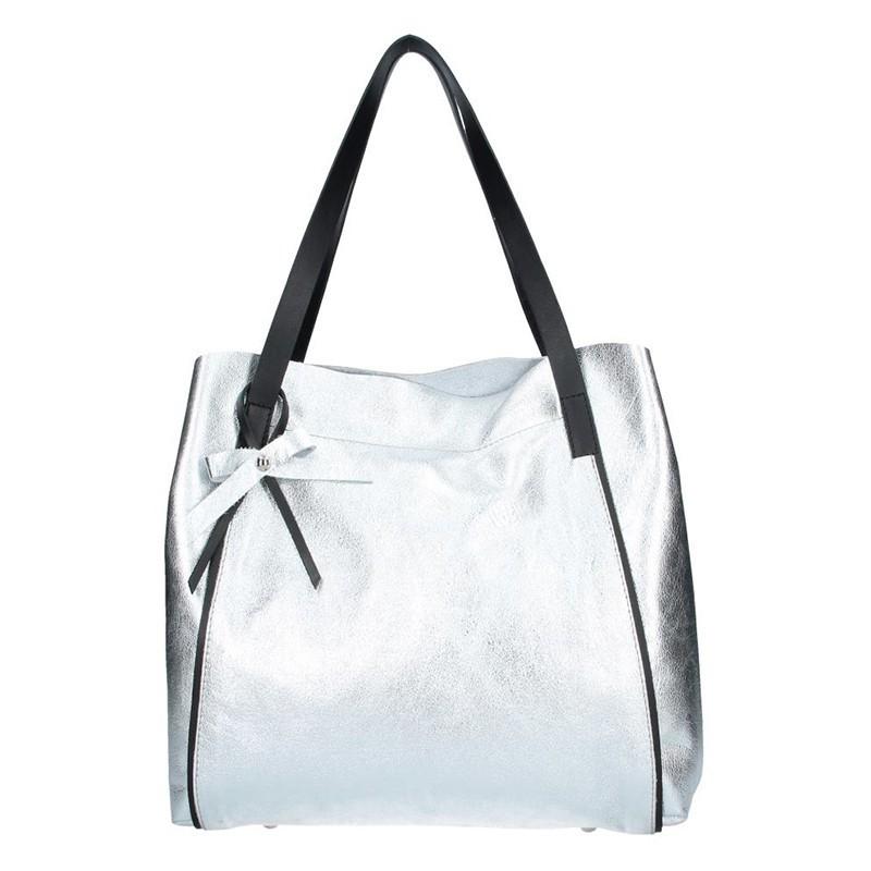 Dámská kožená kabelka Facebag Helena - stříbrná