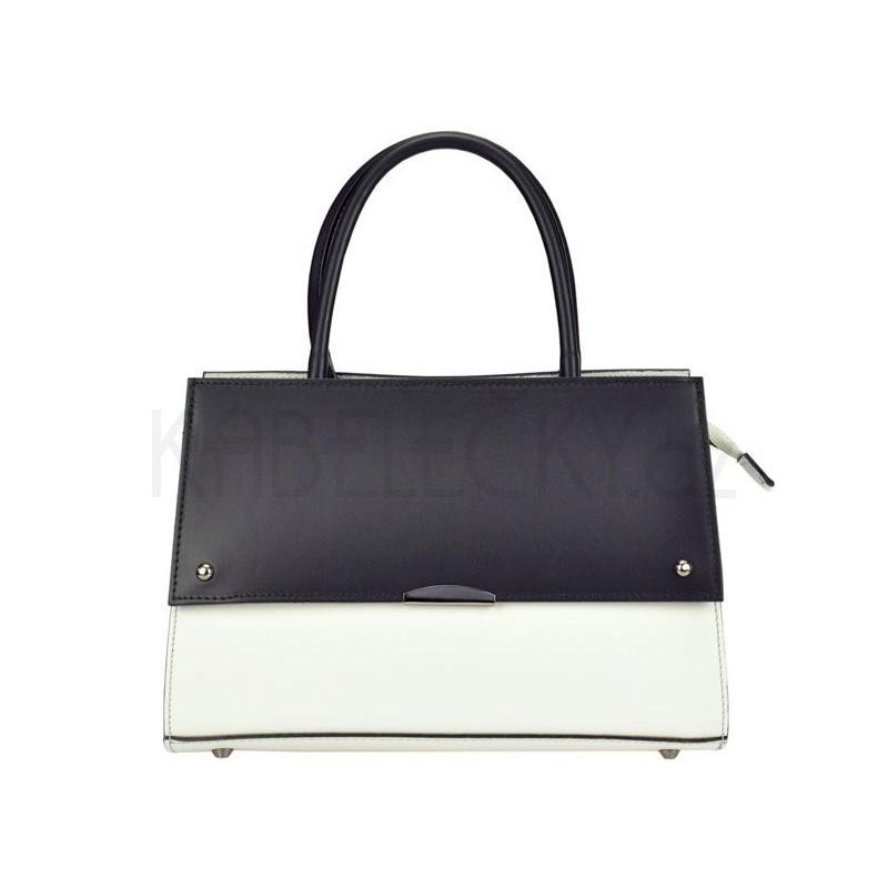 Dámská kožená kabelka Vera Pelle Angela - černo-bílá 4d769a4d1e6