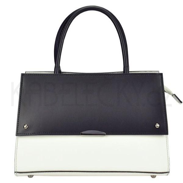 Dámská kožená kabelka Vera Pelle Angela - černo-bílá 046e2dfab6e