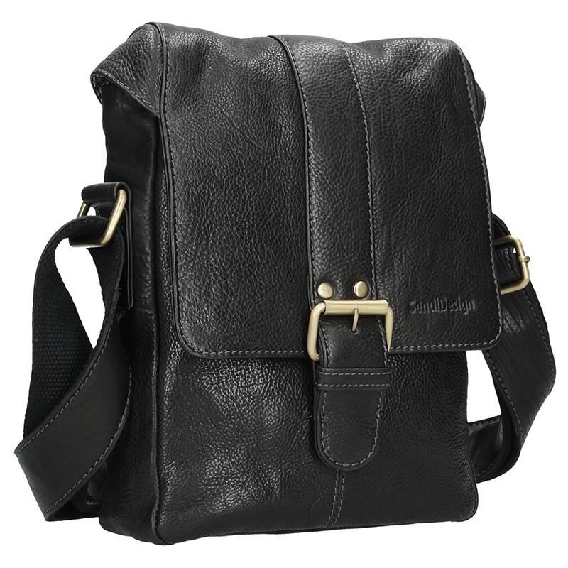 Pánská kožená taška přes rameno SendiDesign Pier - černá