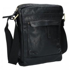 Pánská kožená taška přes rameno Lagen 20672 - černá
