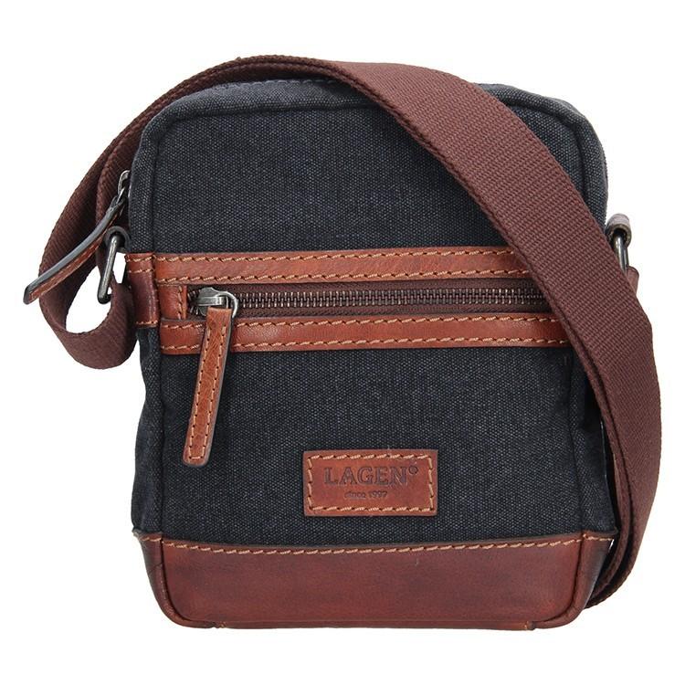 Pánská taška přes rameno Lagen Albert - černo-hnědá f1e6c3e7e59