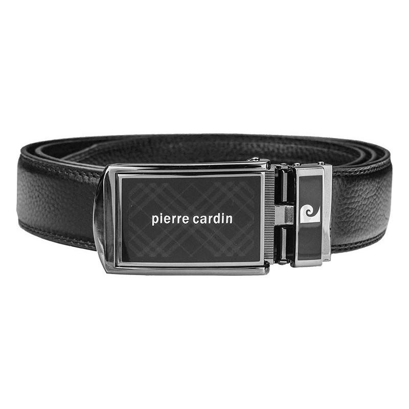 Černý kožený pánský opasek Pierre Cardin Julien
