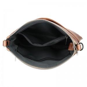 Dámská kožená crossbody kabelka Facebag Paula - metalická růžová
