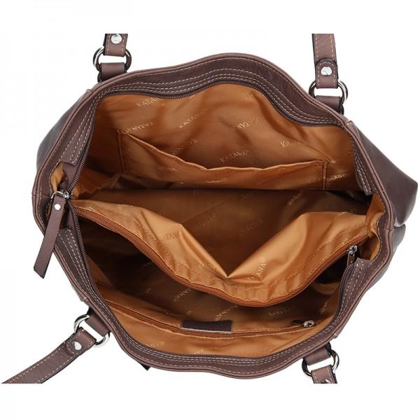 Elegantní dámská kožená kabelka Katana Apolen - tmavě hnědá