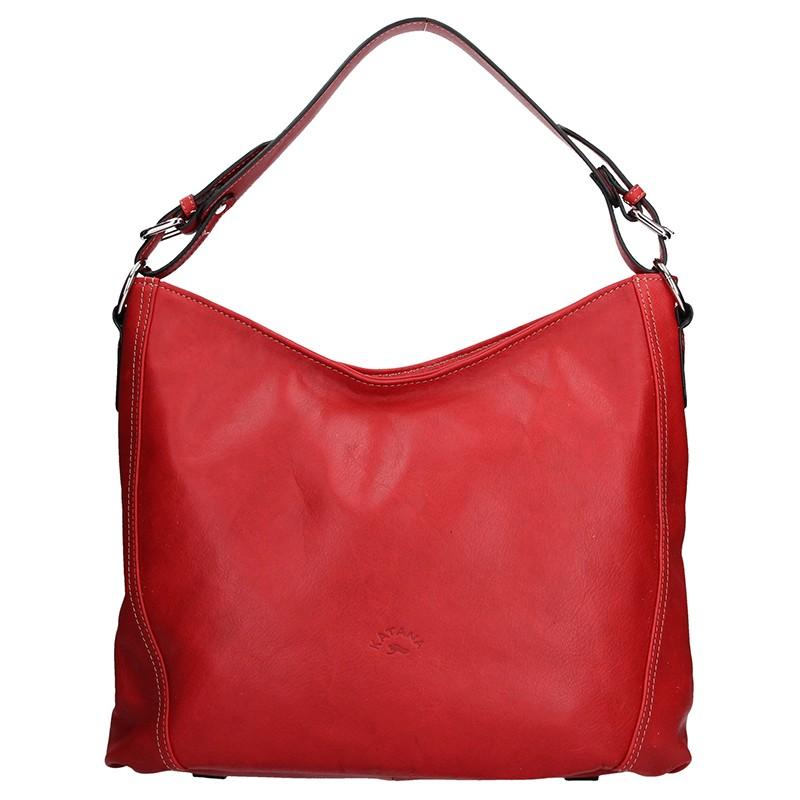 7166299998 Elegantní dámská kožená kabelka Katana Nicol - červená