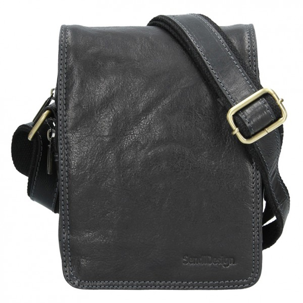 Pánská kožená taška přes rameno SendiDesign Benedikt - černá