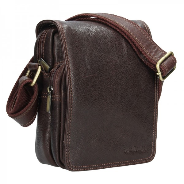 Panská kožená taška přes rameno SendiDesign Benedikt - hnědá