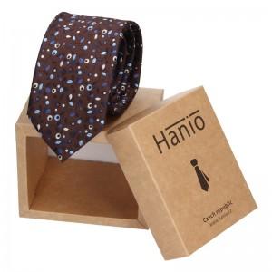 Pánská hedvábná kravata Hanio Gavin - hnědá