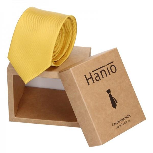 Pánská hedvábná kravata Hanio Sebastian - žlutá