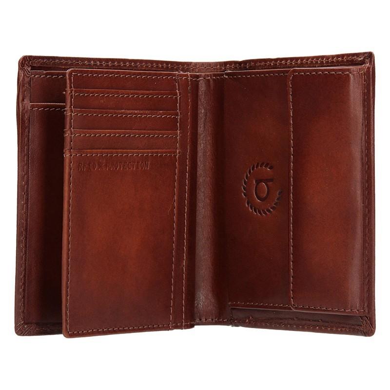 Pánská kožená peněženka Bugatti RFID - koňak
