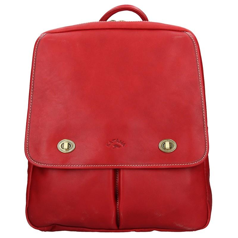 c2772347f75 Elegantní dámský kožený batoh Katana Petra - červená