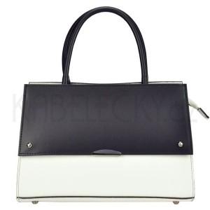 Dámská kožená kabelka Vera Pelle Angela - černo-bílá