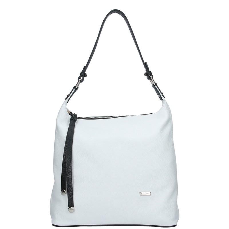 Dámská kožená kabelka Facebag Fionna - bílo-černá