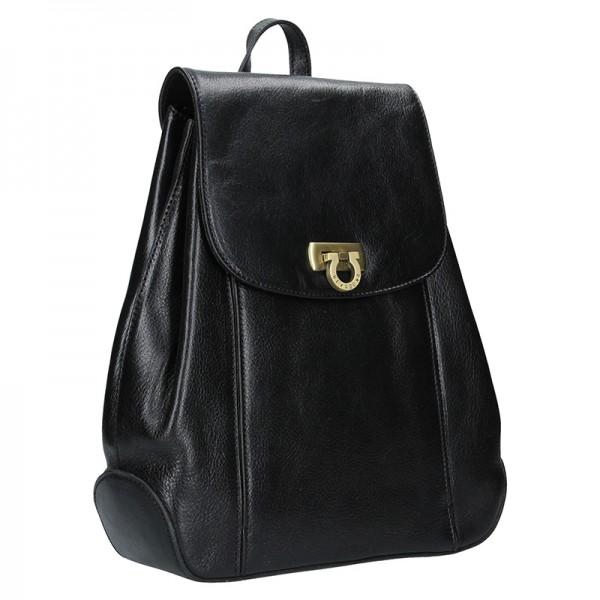 Kožený dámský batoh Hexagona 111429 - vínová