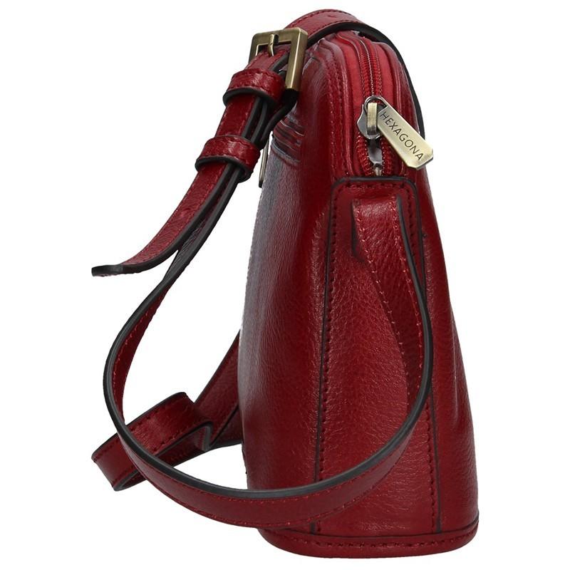 Kožená dámská crossbody kabelka Hexagona 111747 - vínová