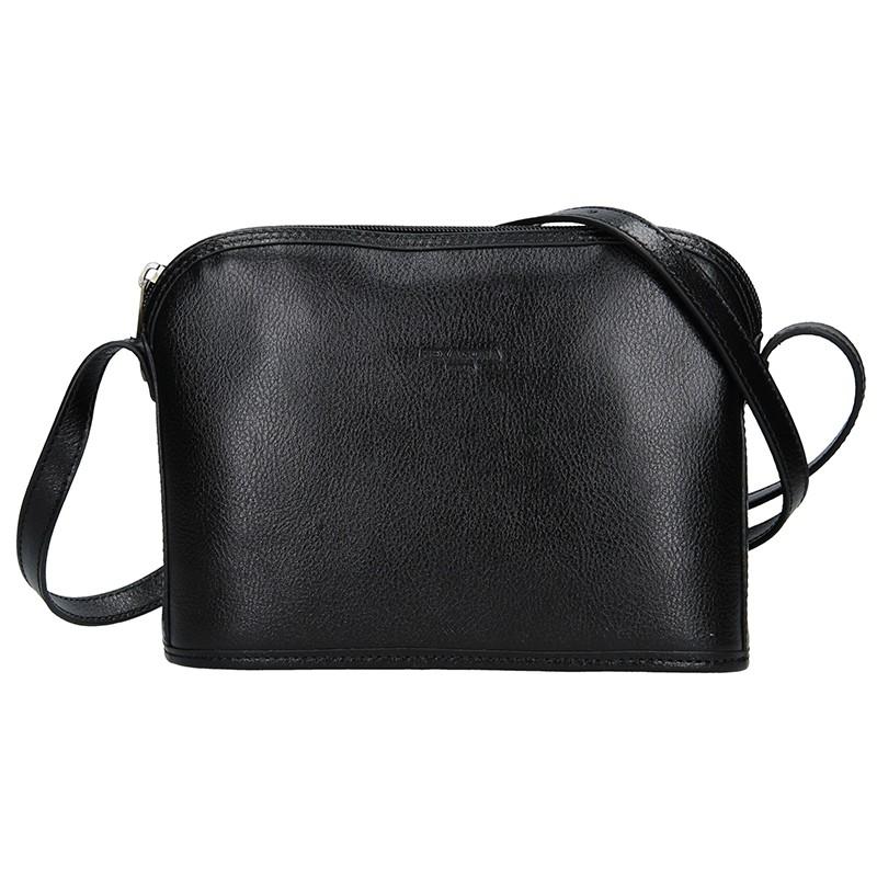 Kožená dámská crossbody kabelka Hexagona 111747 - černá