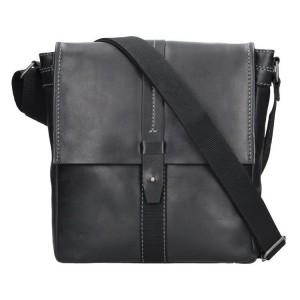 Unisex kožená taška přes rameno Lagen Apolon - černá