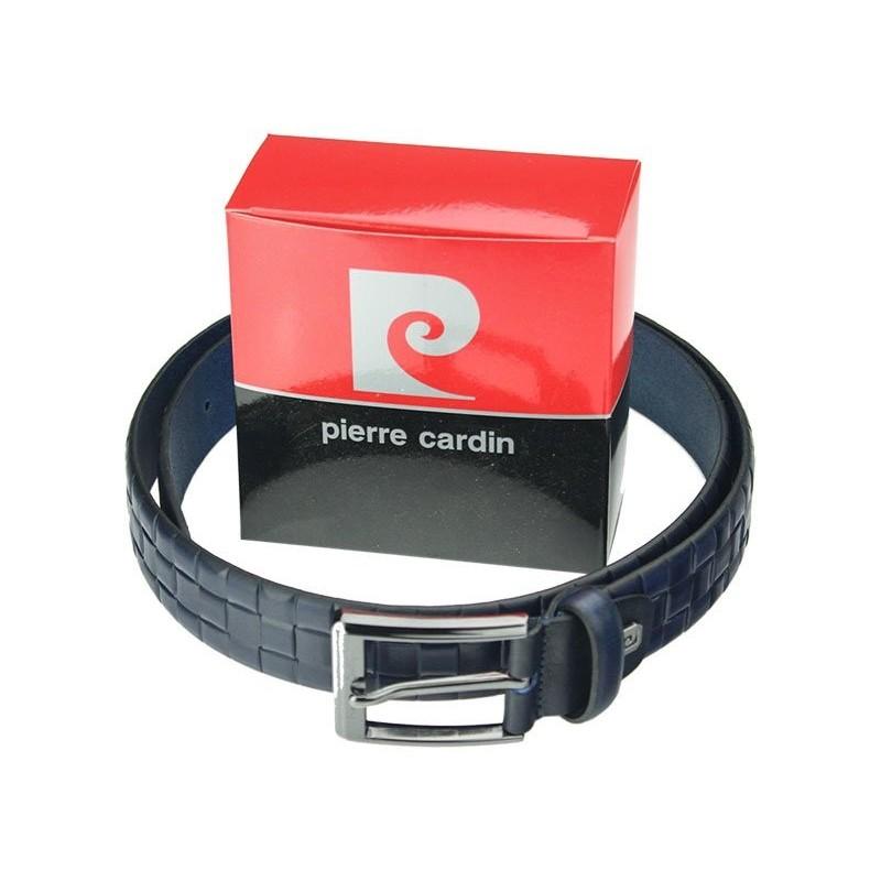 Černý pánský kožený opasek Pierre Cardin Pavlen