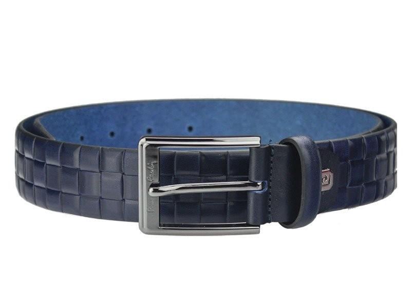 Modrý pánský kožený opasek Pierre Cardin Pavlen