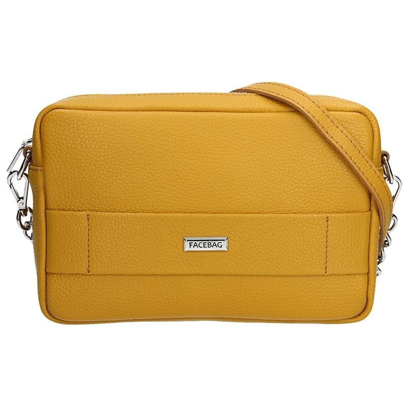 Trendy dámská kožená crossbody kabelka Facebag Nina - žlutá b19f66ec252
