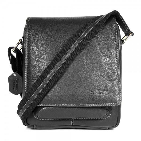 Pánská kožená taška přes rameno SendiDesign IG704 - černá