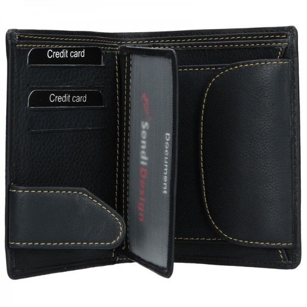 Pánská kožená peněženka SendiDesign Boris - černá