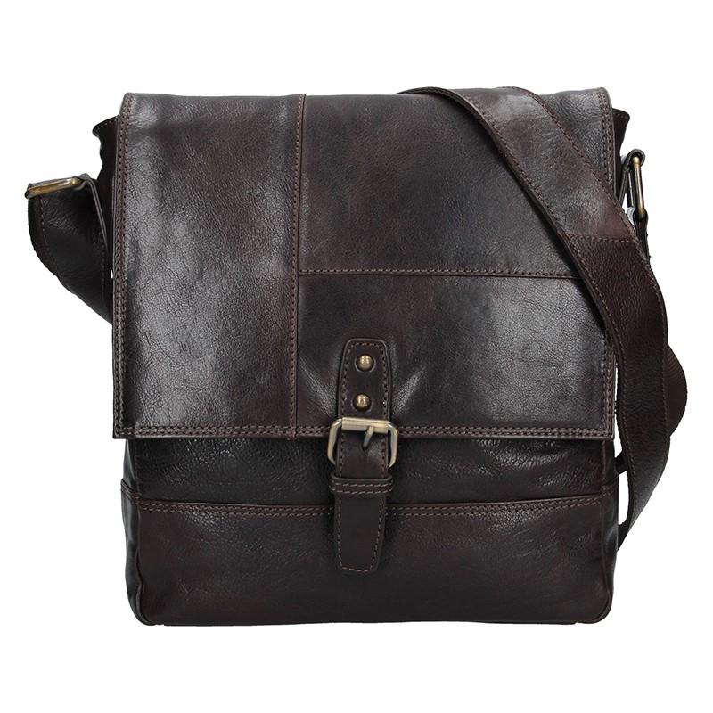 Pánská kožená taška přes rameno Lagen Pascal - tmavě hnědá 390a05c2bf9