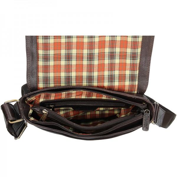 Pánská kožená taška přes rameno Lagen Pascal - tmavě hnědá