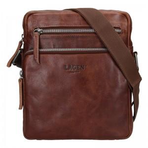 Pánská kožená taška přes rameno Lagen Boris - hnědá