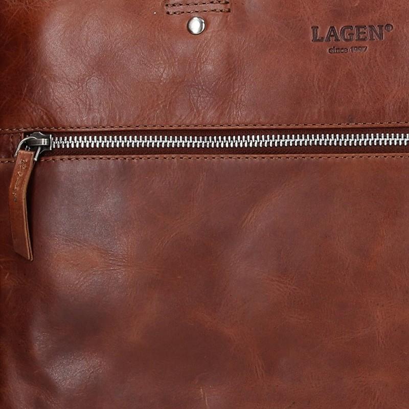 58e63d439d Pánská kožená business taška Lagen Porte - hnědá. Pánská ...