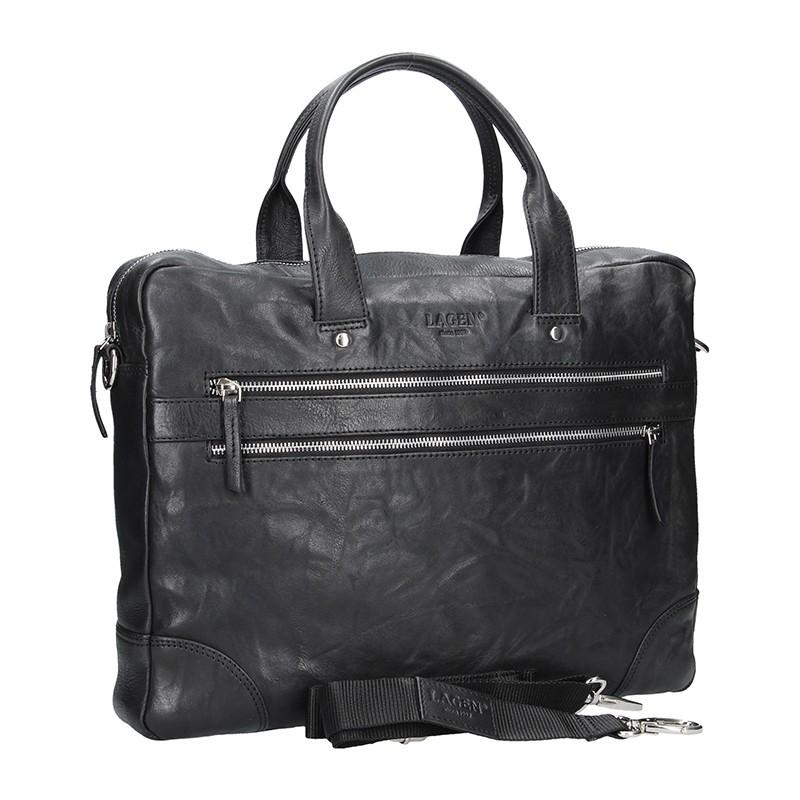 Pánská kožená business taška Lagen Edgar - černá