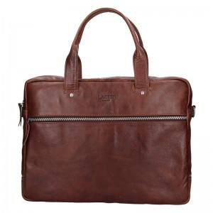 Pánská kožená business taška Lagen Derick - hnědá