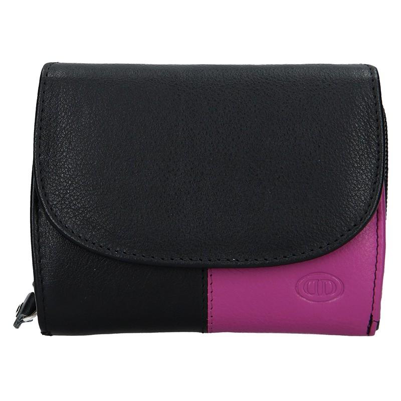 Dámská kožená peněženka DD Anekta Milena - černo-fialová c3ff59c5410